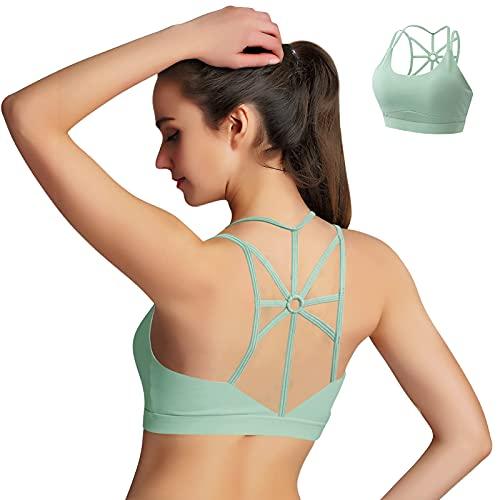 HBselect Sujetador Deportivo Mujer Material Cómodo Suave para Gimnasio Yoga Bailar (Verde, S)