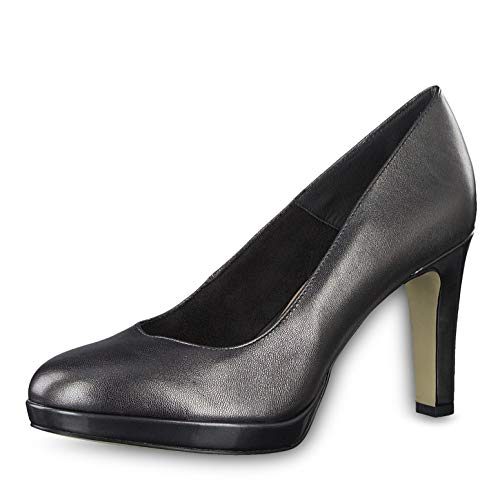 Tamaris Damen Pumps 22424-23, Frauen Plateaupumps, Ladies feminin Women's Woman Abend Feier Plateau-Pumps Plateau-Sohle,Dark Platinum,40 EU / 6.5 UK