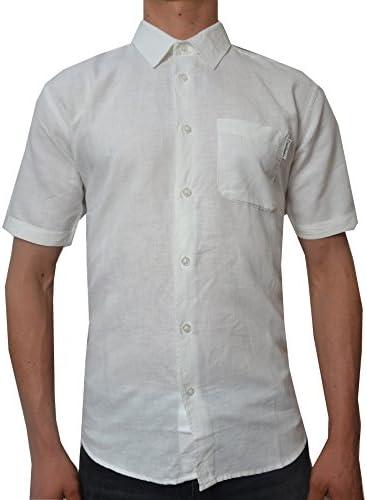 Pierre Cardin Hombre Camisa Blanca de Manga Corta (Large ...