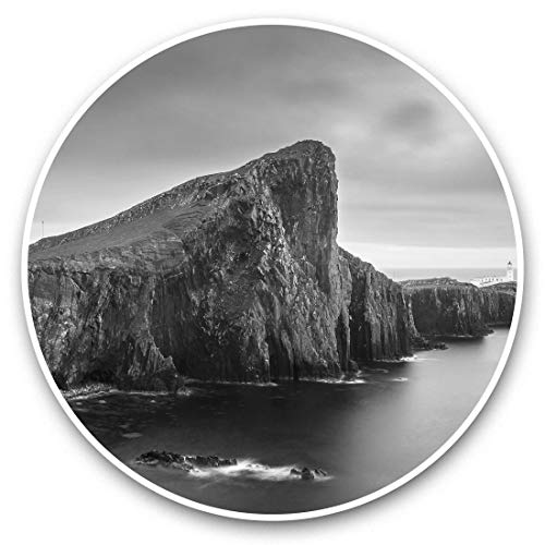 Awesome Vinyl Stickers (Set of 2) 25cm bw - Neist Point Isle of Skye Scotland Fun Decals for Laptops,Tablets,Luggage,Scrap Booking,Fridges,Cool Gift #37301
