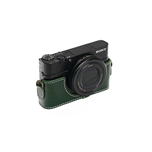 SONY ソニー RX100 II / III / �W/ �X用本革カメラケース ブラウン RX100M2 RX100M3 RX100M4 RX100M5 (カメラケース&ストラップLK09&バッテリーケース, グリーン)