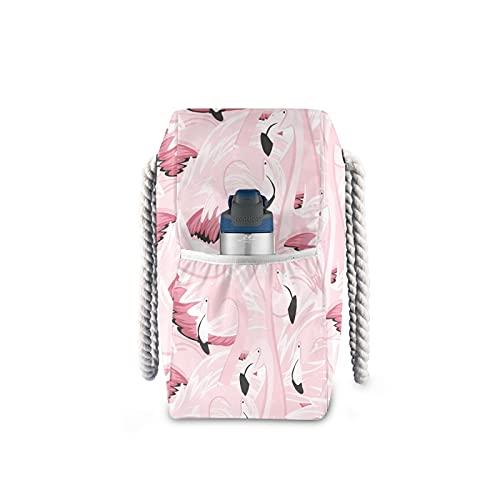 JSJJAKM Bolsas de playa Bolsa de playa Flamingo Nylon Bolsa de hombro Bolso de mano y bolsos de gran capacidad rosa para mujer (Color: personalizado)