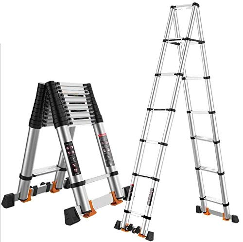 MGCD Step Ladder,Aluminum Extension Foldable Telescopic Ladder Straight Telescoping Ladders, A Type Ladder (Color : 3.8+3.8m-ATypeLadder)
