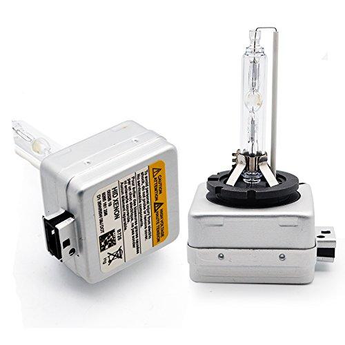 Kashine D1S Xenón HID Faros de Coche Bombillas 6000K 35W D1C Super Brillante Luz Blanco Lámpara Reemplazar para Halógeno o LED Bombilla Exteriores 12V (2 Piezas)