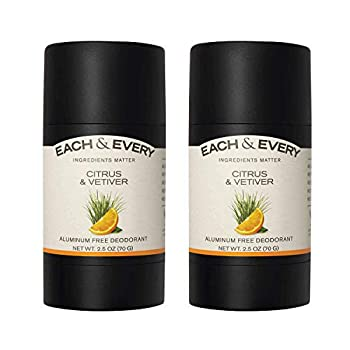 Each & Every 2-Pack Natural Aluminum-Free Deodorant for Sensitive Skin with Essential Oils Plant-Based Packaging Citrus & Vetiver 2.5 Oz.