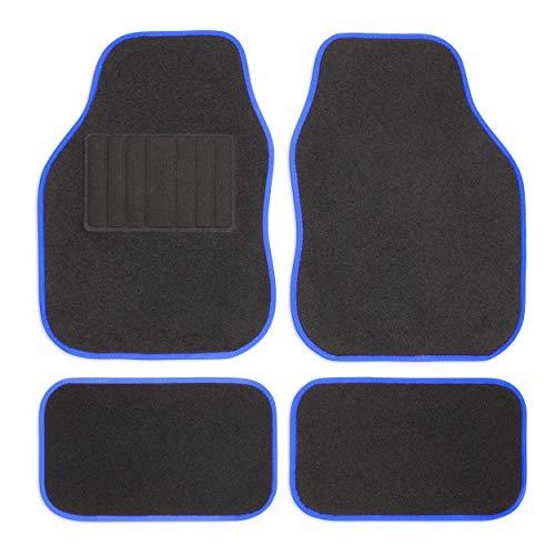 Safe Travel 27651 Alfombrillas universales para vehículos con volante a la izquierda, Almohadilla para los pies con costura, Costuras en Color Azul