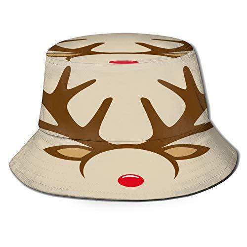 huagu Sombrero Pescador Unisex,Diadema de mscara de Disfraz de Nariz roja de Reno,Plegable Sombrero de Pesca Aire Libre Sombrero Bucket Hat para Excursionismo Cmping De Viaje Pescar