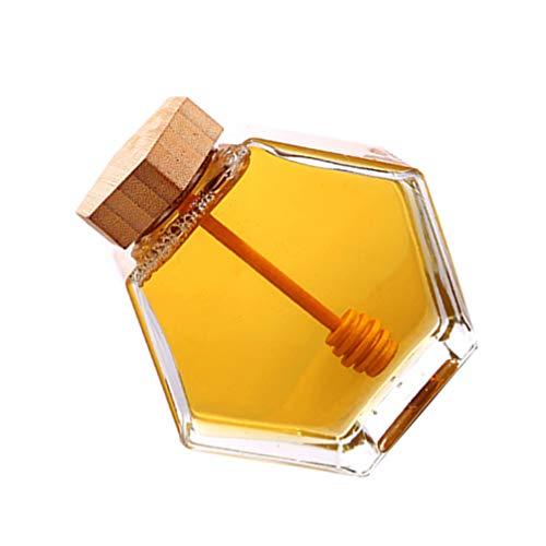 Cabilock Tarro de Miel Hexagonal de 220 Ml Olla Sellada de Vidrio Botella de Almacenamiento de Jarabe de Miel Transparente Recipiente de Cocina con Tapa de Madera Varilla Agitadora