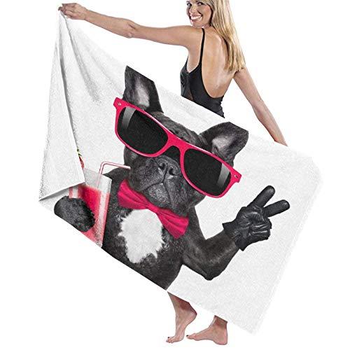 Toallas de Playa suntuoso Tacto de Las Toallas Secado rápido,Beber Bulldog Francés Perro Batido Batido Cóctel Y Gafas Divertidas Paz Dedos Animal,Toallas de baño per Uso quotidiano 80x130CM
