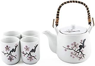 Japanese White Snow Cherry Blossom Sakura Tea Set Ceramic Teapot with Rattan Handle and 4 Tea Cups
