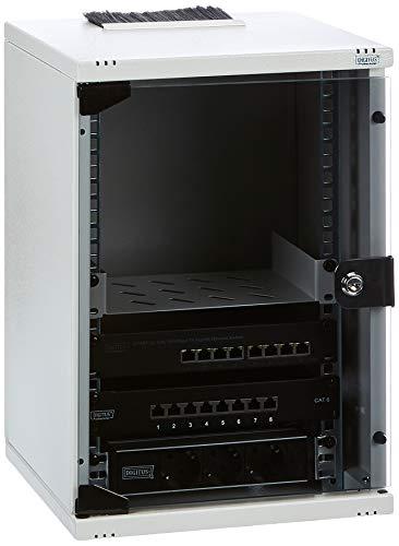 DIGITUS 10-Zoll Set - Netzwerk-Schrank 9HE - Fachboden - Steckdosenleiste - 8-Port Patch-Panel - 8-Port Gigabit-Switch
