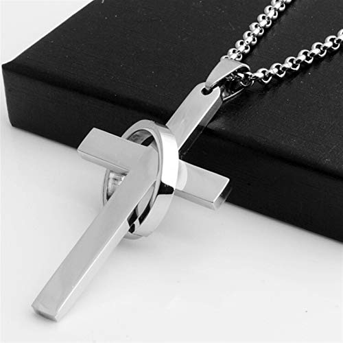 Tivivose Simple Cross with Circle Pendant Necklaces Stainless Steel Chain Christ Cruz Necklace Compatible with Men Boys Cool Neck Jewelry Collier (Metal Color : Silver)