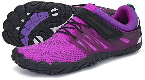 SAGUARO Barfußschuhe Damen Outdoor Zehenschuhe Traillaufschuhe Training Fitnessschuhe Straße Laufschuhe Walkingschuhe St.2 Violett 36