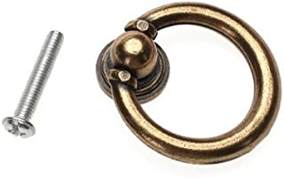 10x Furniture Hardware Drawer Drop Ring Pull Knob Bronze Tone/Antique Traditional Appearance, Solid Bronze Tone Ring Pull