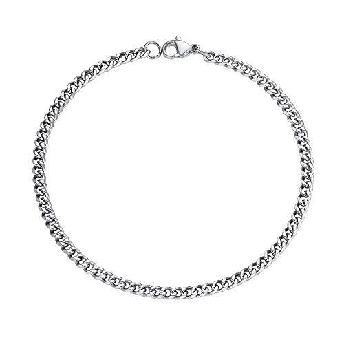 PROSTEEL Mens Metal Cuban Chain Bracelet 3mm 21CM Stainless Steel for Boyfriend Steel Bracelet