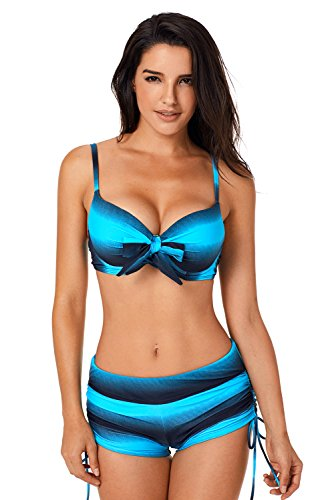 Aleumdr Bikini Set Damen Stilvoller Frauen-Badeanzug mit Bikini Bottoms Blau Größe L