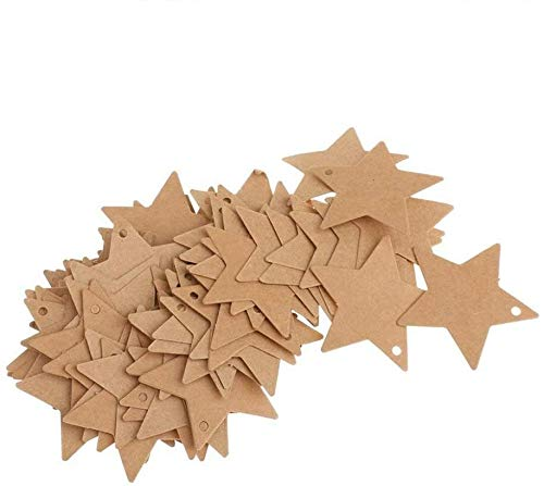 Plztou Kraft Paper Bookmark Pentagram Shape Label Hangable Gift Labels Price Tags Luggage Tags Blank Paper Card 100 Pieces Cost-Effective and Good Quality Amusing