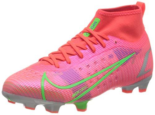 Nike Jr Superfly 8 Pro FG Football Shoe, Bright Crimson/Metallic Silver-Indigo Burst-White-Rage Green, 36 EU