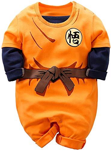 KLYJ Baby Goku - Mono de manga larga para bebé con capucha y estampado de dibujos animados naranja naranja Talla:3-6 meses