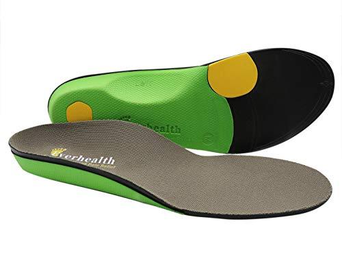 EVERHEALTH Plantillas Ortopédicas Suelas para Zapatos con Fuerte Soporte de Arco para la Fascitis Plantar/Pies Planos/Dolor en el Talón/Arco, Plantillas de Repuesto para Hombre y Mujere
