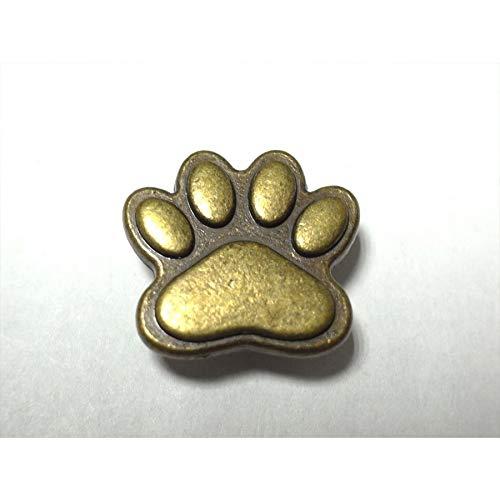 簡単取付け! ネジ式飾りマグネットホック 犬の足 肉球感がかわいいです アンティークゴールド 1個入 革小物などの留め具に最適