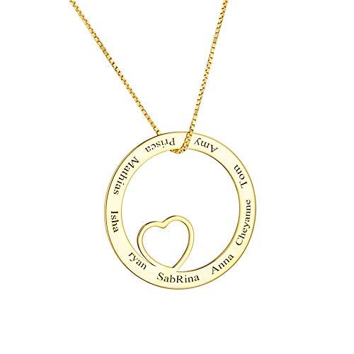 Supreme glory Familien Halskette 925 Sterling Silber Herz Personalisierte Kette Mit 1-8 Namen Namenskette Damen Schmuck Mit Wunschnamen Gravur Gold