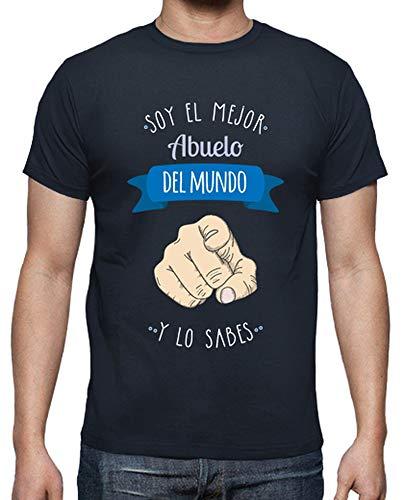 latostadora Camiseta Mejor Abuelo del Mundo (y lo Sabes) Fondo Oscuro - Camiseta Hombre clásica, Azul Marino Talla XL