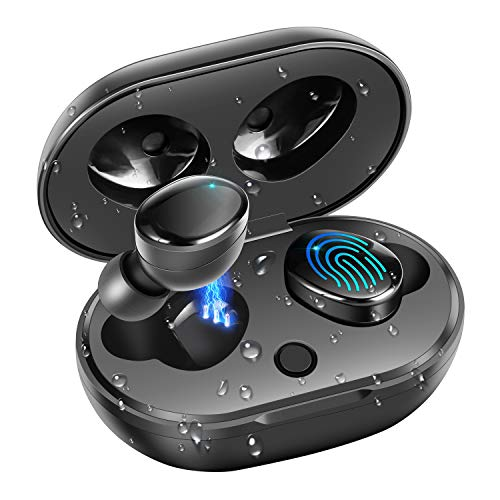 Bluetooth 5.0 Wireless Headphones, moosen IPX7 Waterproof 27H Playtime AAC 8.0 CVC 8.0 True Wireless Earphones Earbuds with Hi-Fi Deep Bass 3D Stereo Sound, Touch Control & Charging Case