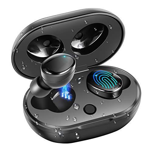 Auricular Inalámbricos Bluetooth 5.0, moosen IPX7 Impermeable 27H Playtime AAC 8.0 CVC 8.0 Cierto Auriculares Inalámbricos con Hi-Fi Graves Profundos Sonido Estéreo, Control Tactil & Estuche de Carga