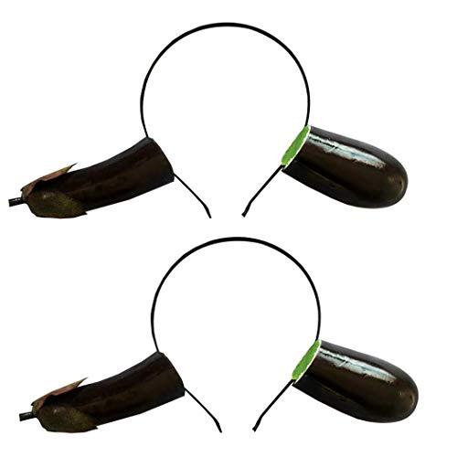 Kapmore Haarband, 2 stuks, haarband, cartoon groenten, fruit, party, hoofdband, kostuum, hoofdband dark purple