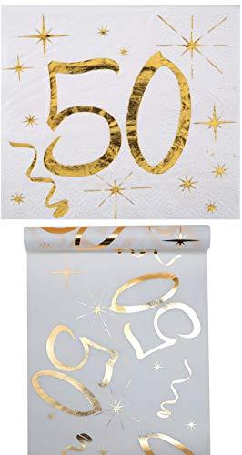 Eventausstattung24 Geburtstag Set/ Tischband 50 Gold + Servietten 50 Gold/Geburtstagsdekoration/ Servietten 50/ Tischband Geburtstag