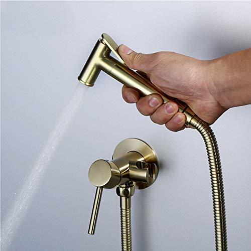 Grifo de bidé de oro cepillado, rociador de bidé de inodoro de mano, grifo de bidé mezclador de agua fría y caliente, grifo de ducha Shattaf de baño de latón macizo