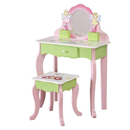 WODENY Kinder Schminktisch und Hocker | Kinder-Waschtischgarnitur | Mädchen Kommode Tisch | Childs-Frisierkommode-Stuhl, hölzerner Mode-Schminkspiegel mit Fach-Rosa (Tisch & Hocker Set)