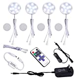 AIBOO Linkable LED Under Cabinet Lights 12V Slim Aluminum Dimmable Puck Lights with RF Remote Control & ETL Listed Power Adapter for Accent Display Lighting (4 Lights,Daylight White)