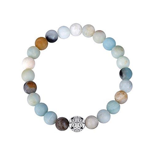 Natürliche 8 mm Edelsteine MetJakt Heilung Crystal Stretch Perlen Armband Armreif mit 925 Sterling Silber Double Happiness Anhänger (AMAZONITE)