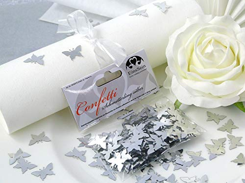 EinsSein 14g Streudeko Konfetti Hochzeit Schmetterling Silber metallisch Tischdeko Hochzeit