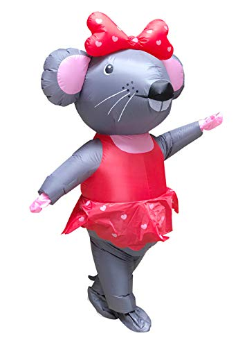 Inflatable Mouse Clown Costume for Adults Halloween Suit Blow Up Fancy Dress (Miss Mouse)