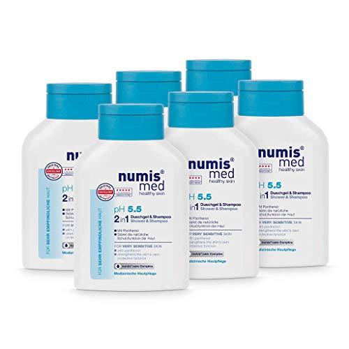 numis med 2in1 Duschgel & Shampoo ph 5.5 - Hautberuhigendes Shower Gel & Haarshampoo für sehr empfindliche & sensible Haut - vegane Hautpflege ohne Silikone, Parabene & Mineralöl (6x 200 ml)