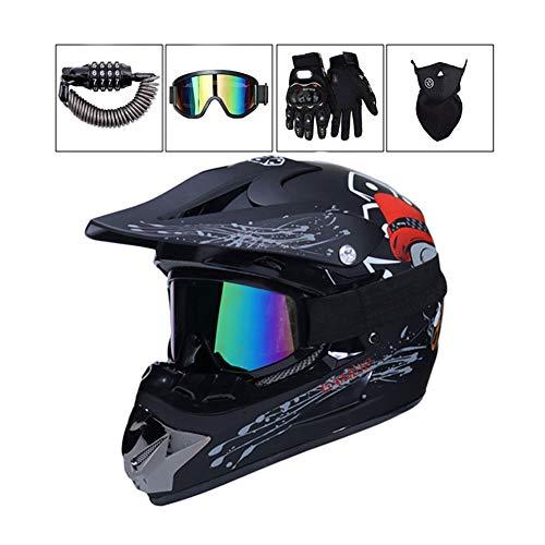 LEENY Motocross Helm - Erwachsener Motorrad-Off-Road-Helm mit Brille/Maske/Handschuhe/Sicherheitsschloss, Cross-Helm DH Enduro ATV BMX Quad Motorräder-Helm, Matts Chwarz,XL