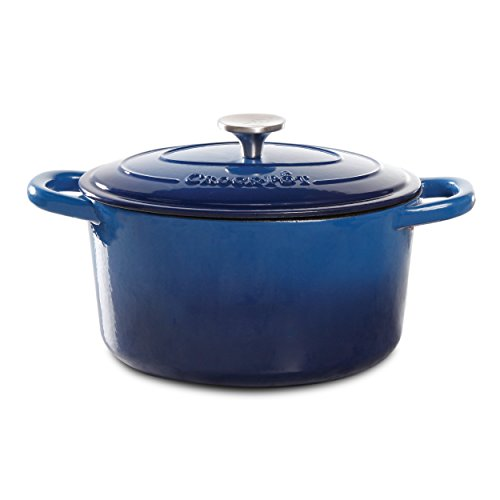 Crock Pot Artisan 7 Quart Enameled Cast Iron Round Dutch Oven, Sapphire Blue - 69145.02