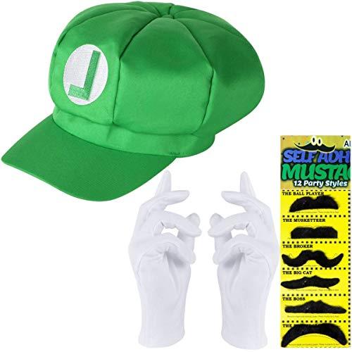 Luigi Set | Luigi Mütze grün + weiße Handschuhe + 6X Klebe Barte für Fasching und Karneval Mützen Hut Cap Herren Damen