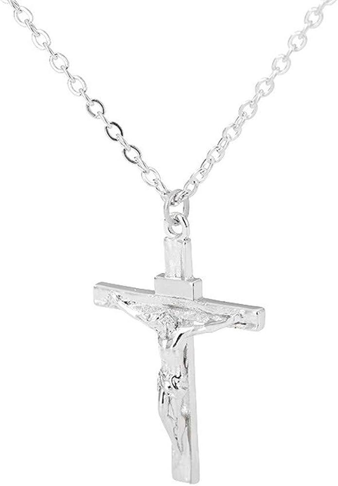 Kumshunie Stainless Steel Cross Crucifix Pendant Necklace Dainty Unisex Religious Baptism Jewelry