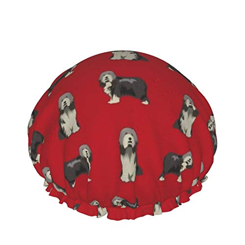 Gorro de ducha reutilizable, con doble capa exterior impermeable para todas las longitudes de cabello (barbudo Collie negro barbudo Collie perro rojo)