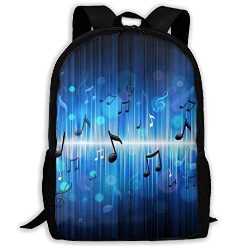 Black Blue Music Note Print Adult Backpack Laptop for Adults,Older Children
