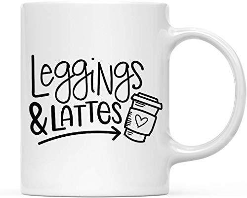 ORANGEW Fall Autumn Season 11oz. Coffee Mug Gift, Leggings & Lattes, 1-Pack, Themed Birthday Gift Ideas for Hostess Friends Coworkers