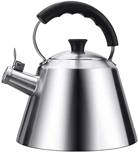 Hervidor de agua para estufa, hervidor de agua para gas, tetera de cobre para té, encimera con silbido, acero inoxidable con mango resistente al calor, compatible con inducción eléctric