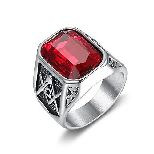 Anillos masónicos punk piedra grande para hombres Color plateado Acero inoxidable Vintage AG Freemason Classic 7 Rojo