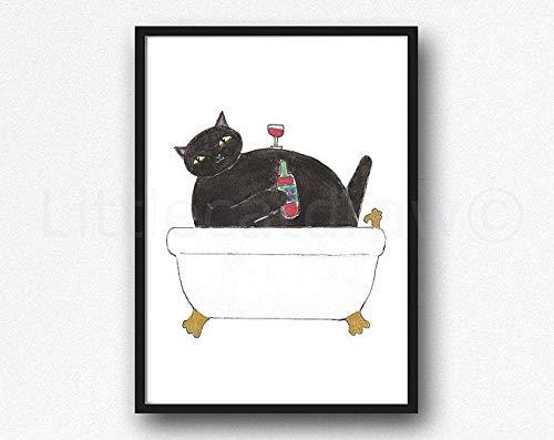 Impresión de gato negro con diseño de acuarela para vino, decoración de pared, decoración de baño, bañera, decoración de pared, decoración de pared, diseño de gato