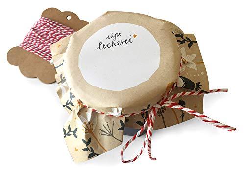 25 Marmeladendeckchen Creme, Gläserdeckchen für Marmelade, Marmeladengläser & Einmachgläser zum selbst beschriften, retro Design mit Blumen, Recyclingpapier Abreißblock + 10 m Garn & Justiergummi
