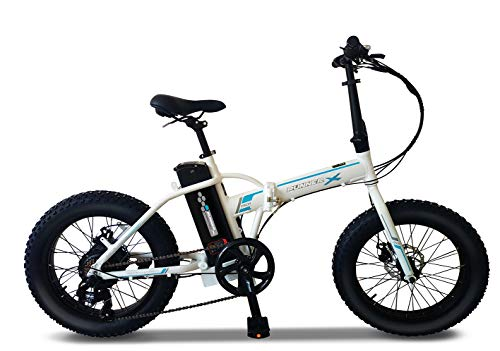 """Runner X 20"""" Fat Tire Electric Bike/Folding E-Bike/Commute Bicycle with Foldable Alloy Frame, 500W Motor Power, 7-Speed Gearing and 36V Lithium-Ion Rechargeable Battery (White Color)"""